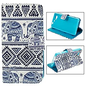 Wallet Type Colored Drawing Calf Elephant Pattern PU Leather Protective Case for Sony Z1 Mini