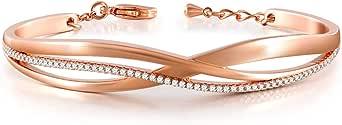 QLEESI Bracciale in oro rosa / bianco da donna, braccialetti regolabili con squisita confezione regalo per mamma figlia moglie per la festa della mamma