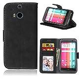 SATURCASE HTC One M8 Hülle, Retro Mattiert PU Leder Flip Magnetverschluss Brieftasche Standfunktion Kartenschlitze Schützend Tasche Hülle Schutzhülle Handycover für HTC One M8 (Schwarz)