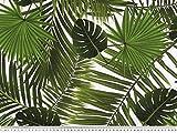 Panama Dekostoff, Dschungel Pflanzen, weiß-grün, 140cm