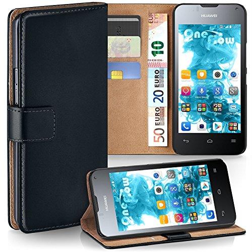 moex Huawei Ascend Y300 | Hülle Schwarz mit Karten-Fach 360° Book Klapp-Hülle Handytasche Kunst-Leder Handyhülle für Huawei Y300 Case Flip Cover Schutzhülle Tasche
