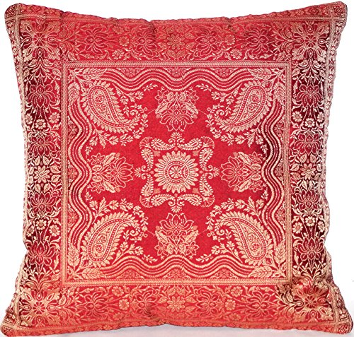 Kissenbezug   Zierkissenbezug   Sofakissenbezug   Dekokissen   Zierkissen - 40 cm x 40 cm ***Handgewebt und Handgefertigt von Kunsthandwerkern aus Kaschmir-Indien*** ()