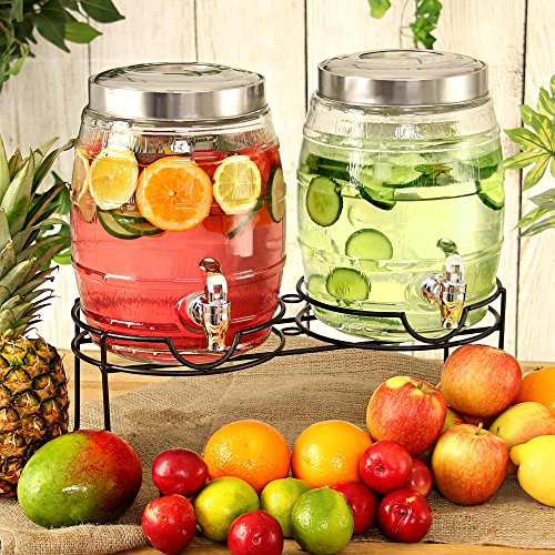Doble barril bebidas dispensador de 10ltr (con soporte, cristal dispensador de bebidas