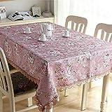 SONGHJ Polyester Baumwolle Leinen Retro Rose Blumen Tischdecken Rechteck Thema Partei Spitze Tischdecken Hochzeit Dekoration Tischdecke A 140x180cm / 55x71in