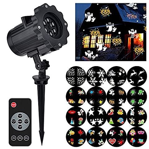 Christmas Lights Projector, Upgarde NO Fade Version, Xmas Snowflake Spotlight LED Projector Star Night Light with 12 Dynamic Slides for Halloween Christmas Birthday Party Holidays Indoor Outdoor