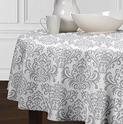 5 Stück-sammlung-tabelle (A LuxeHome Grau und weiß Modernes Damast Tischdecken Esszimmer Küche Rund 182,9cm)