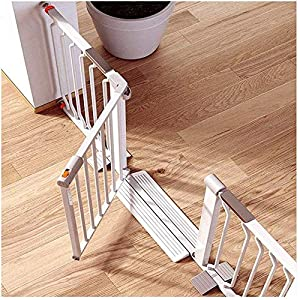 MOM Pet Playpens Door,Expandable Extra Wide Child Pet Safety Gate Dual Lock for Stairway Garden Rail Guards Self Closing Extensions Fence Dog Doorways Pressure Mount Stairs Guardrail Gate,White,W 355   2
