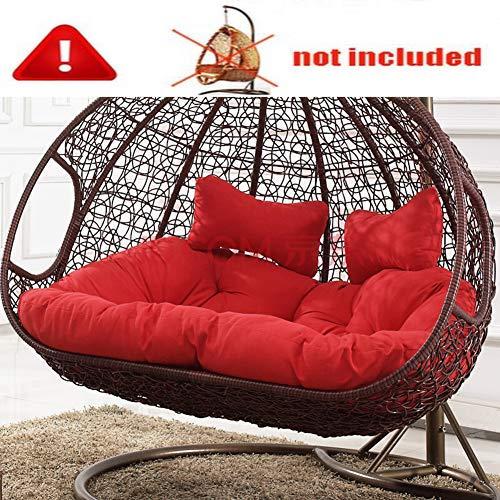 Single Rattan Hängesessel Swing Sitzkissen Dick Swing Chair Stuhlkissen Balkon Bird\'s Nest Stuhlkissen Hof Garten Sessel Sitzkissen(Nicht Einschließen Hängende Stühle)-rot Doppelt