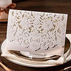 Idea Regalo - Biglietti di invito per matrimonio tagliati con laser, 20 unità, con fiori in rilievo di colore bianco, con busta abbinata, cartolina inserita e sigillo