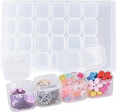 Plastik Aufbewahrungsbox Sortierbox Schmuckschatulle 28 Fächer Klein Klar Transparent Einstellbar Kunststoff