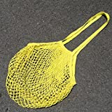 srovfidy bourses pour la dépense portable Supermarché facile à acheter les sacs de shopping de la poche de réseau de fruits du coton 100% one size jaune