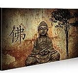 islandburner Bild Bilder auf Leinwand Buddha V10 1p XXL Poster Leinwandbild Wandbild Dekoartikel Wohnzimmer Marke