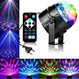 Discokugel LED Partylicht Disco Lichteffekte mit Fernbedienung, Qibaok 3W 7 Farbe RGB Effekt DJ Licht Lampe Sprachaktiviertes Kristall Magic Ball Bühnenlicht für Disco Kinder Party Ballsaal KTV Stab Stadium Club