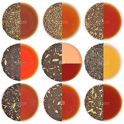 Chai Tee Sampler, 10 TEES, Indiens Original Masala Chai Tee Mischungen (50 Tassen), 100% Natürliche Zutaten - Gewachsen, Gemischt und Direkt von der Quelle in Indien. Authentischer Loose Leaf Chai