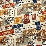 0,5m Canvas Baumwolle Stamps Briefmarken beige Meterware