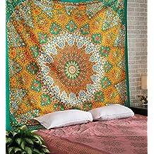 Psychedelic Tapestry Mandala Tapiz Estrella Abstracto Hippie Wall Hanging Tapestry, Cuiberta del Sofa Playa de Tiro por Rajrang