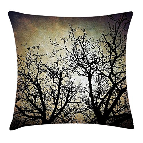 illow Cushion Cover, Scary Twilight Scene with Grunge Tree Branch Silhouette Over Dirty Night Sky Image, Decorative Square Accent Pillow Case, 18 X 18 Inches, Sepia Black ()
