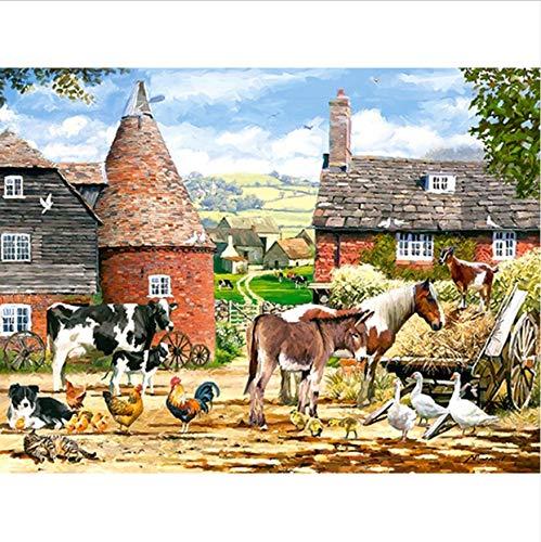 nd Embroidery,Town Farm Animals,Diamond Painting,Cross Stitch,3D,Diamond Mosaic,Decor,Christmas 40X50CM ()