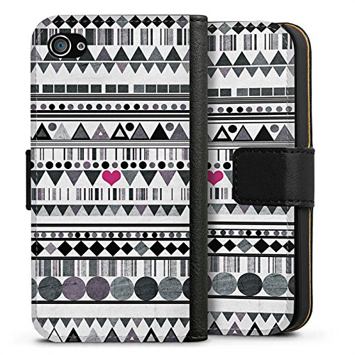 Apple iPhone X Silikon Hülle Case Schutzhülle Muster Herz Art Sideflip Tasche schwarz