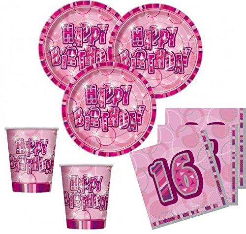 (48 Teile Sweet Sixteen 16. Geburtstag Party Set Pink 16 Personen)