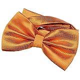 DonDon Herren Fliege 12 x 6 cm gebunden mit Hakenverschluss und größenverstellbar für besondere Anlässe orange