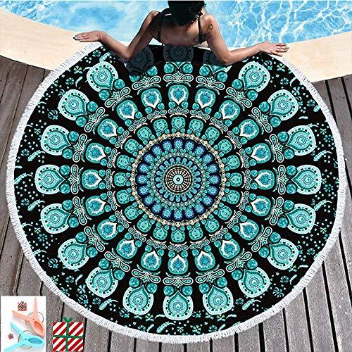 Morbuy Strandtuch Rund 150 Mandala, Handwerk Quaste Mikrofaser Strand Yoga Matten Tragbare Tapestry Überwurf Tischdecke Picknickdecke Badetuch Schal Unisex 2 Clips