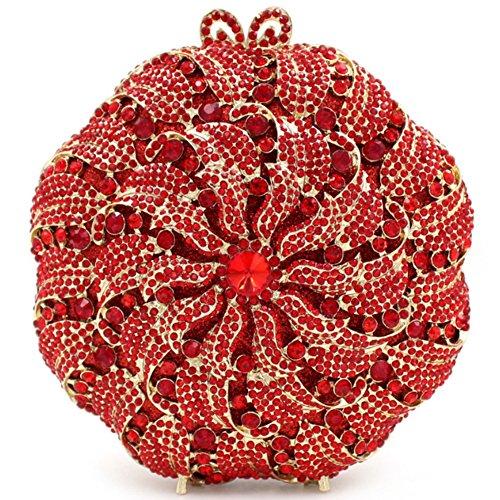 Santimon Donna Pochette Borsa Lusso Diamante Cristallo A Forma di Ventaglio Bloscco Bacio Borsellini Borsetta Con Tracolla Amovibile e Pacco Regalo 7 Colori rosso