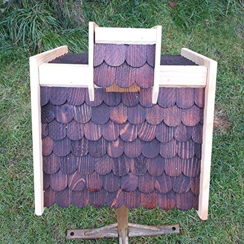 Vogelhaus-XL D Braun- Vogelhäuser-Vogelfutterhaus Vogelhäuschen-aus Holz Wetterschutz Putzklappe - 3