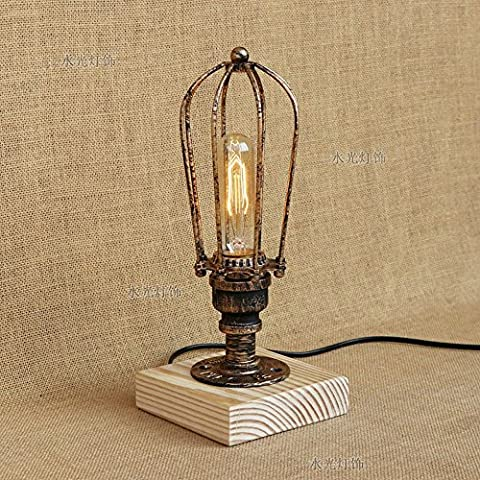 XCH Dazzling DL Lampe de table Retro Loft Vintage Industrial Steampunk Fer forgé E27 1-Light Edison Metal Table Lights Bedside Nightstand Home Iron Craft Decoration Lamp