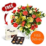Fresh Flowers Delivered - Free UK Delivery - Blazing Spray Carnation Bouquet with Free Chocolates, Flower Food and Bonus Ebook Guide - Perfect For Birthdays, Anniversaries and Thank You Gifts