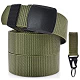 "Mens Nylon Canvas Web Belt Nylon Belt Hanging Carabiner Hook Military Style Webbing Work Fabric Webbed YKK Belt 50""Long Green"