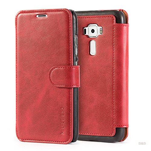 Mulbess Layered Dandy Ledertasche im Bookstyle und Kartenfach für ASUS ZenFone 3 ZE520KL 5.2 hülle Tasche Leder,Weinrot