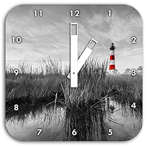Bodie Iceland Lighthouse in North Carolina black / white, wall clock diameter 28cm square with white hands and face, decoration items, Designuhr, aluminum composite very nice for living room,