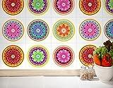 Fliesenaufkleber Wand Färbung Mandalas Deko Orientalische Küche Ideen (Packung mit 24) (15 x 15 cm)