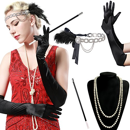 Kostüm 20's Schmuck (BABEYOND 1920s Flapper Set Damen Gatsby Kostüm Accessoires Set inklusive Stirnband Halskette Handschuhe Zigarettenhalter)