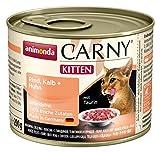 Animonda Katzenfutter Carny Kitten Rind, Kalb + Huhn , 6er Pack (6 x 200 g)