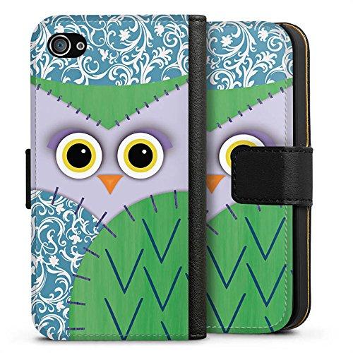 Apple iPhone X Silikon Hülle Case Schutzhülle Owl Eule Kinder Sideflip Tasche schwarz