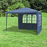 JOM 127135 Gazebo, 3 x 3 m, with 4 side walls, 3 windows and 1 door with zipper, PE 110G,  metal rods, plastic connectors, waterproof, with tent pegs and cords,  blue