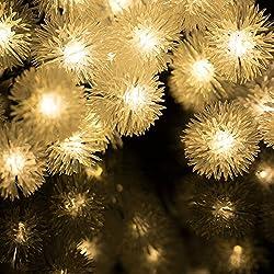 H&D Youngsun 30er LED Solar Lichterkette Pompon 6,35 Meter Außen Innen Outdoor Garten Warmweiß Fairy Light Party Fest Deko Weihnachten Hochzeit Beleuchtung (warmes Weiß (Pompon))