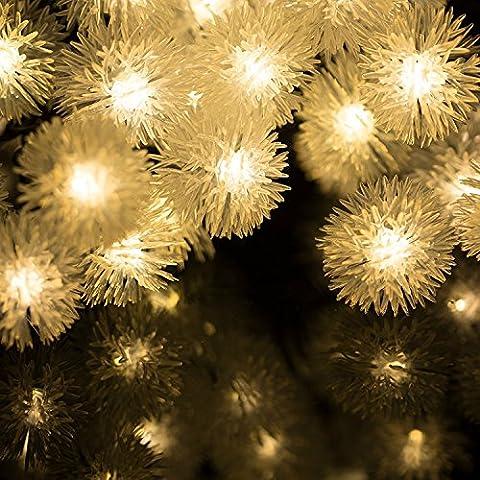 H&D Youngsun® 30er LED Solar Lichterkette Pompon 6,35 Meter Außen Innen Outdoor Garten Warmweiß Fairy Light Party Fest Deko Weihnachten Hochzeit Beleuchtung (warmes Weiß (Pompon))
