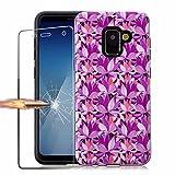 Samsung Galaxy A8 2018 Hülle Marmor, Samsung Galaxy A8 2018 Schutzhülle mit Panzerglas, MISSDU Charming-Serie, Flexible PC TPU, Weiche Rückwärtige Schutzhülle Fürs Samsung Galaxy A8 2018 - Lotus