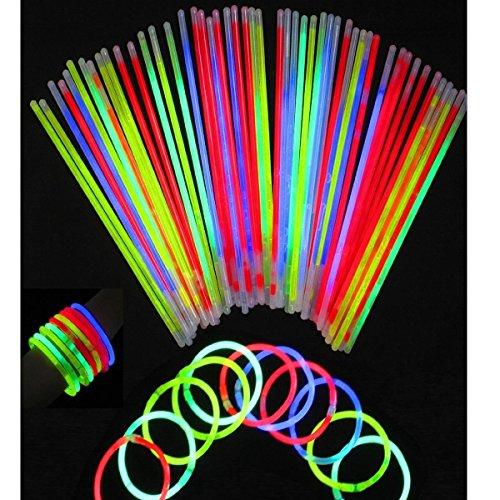 dealglad® 20,3cm Luminous Fluoreszierend Glow Sticks Light Stick Armbänder Ketten gemischt Farben Party Supplies, plastik, Blue, Green, Yellow, Red, & Orange (Send at Random), 20PCS (Fluoreszierende Innenbeleuchtung)