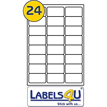 Laser or Inkjet Printer 24 Per Page//Sheet 50 Sheets Printable with Copier White Blank Multi function Self-Adhesive A4 Address Addressing Shipping Stickers LABELS4U /®TM Branded Product 70 mm x 35 mm