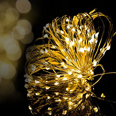 Fairy Lights, Syhonic 100LED Copper Wire Waterproof LED String Lights Indoor Outdoor Starry Fairy Lights Lighting DIY Decoration for Bedroom Jars Garden Camping Festive Wedding Christmas Party - Warm White 33fts - low-cost UK light shop.