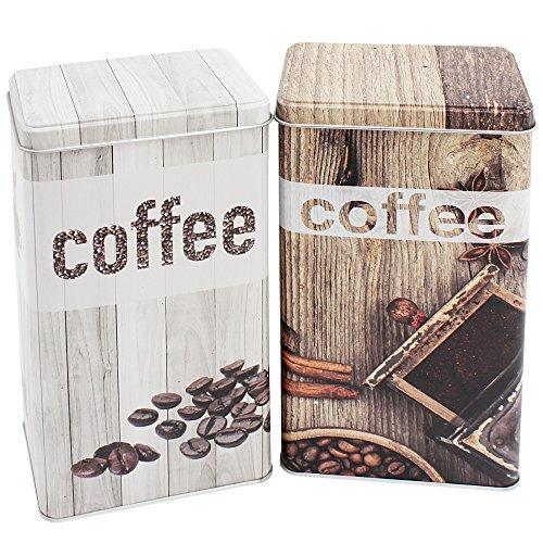 com-four 2X Trendige Kaffeedose in Dekorativen Designs, 1,3 Liter Fassungsvermögen