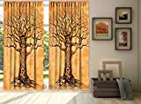 "Indian Tie Dye Tree Of Life Tapestry, Mandala Window Curtain Valances Room Divider 2 Pc Treatment Panel Set 80 x 104"" By Bhagyoday Fashions"