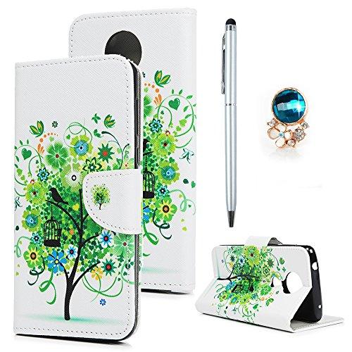 Motorola Moto E5 Plus Hülle Case Tasche Kunstleder Brieftasche Wallet Schale Schutzhülle Handyhülle Standfunktion Kartenfach Magnetverschluss Bookstyle Klapphülle Grüner Blumenbaum