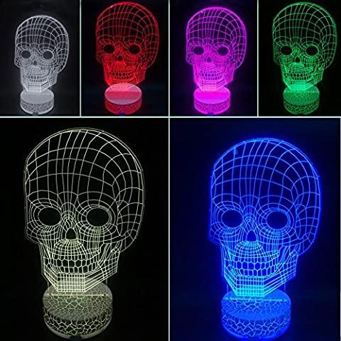 Happy Fd 3D Illusion Light LED Table Lamp 3D Skull Base Synchronous Glow Table Lamp Children Night Light USB Powered Kids Room Art Sculpture Lights Produces Unique Lighting Effects and 3d Visualization (7-Color)