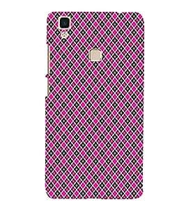 Printvisa Pink And Black Check Pattern Back Case Cover for vivo V3Max
