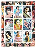 sellos para coleccionistas–Elizabeth Taylor perforado sello hoja con la película Actriz en diversas funciones/disfraces/Turkmenistán